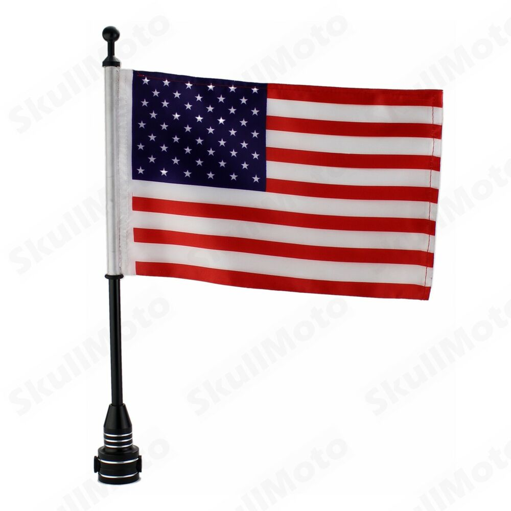 Custom Motorcycle Black Rear Side Mount Flag Pole With Usa