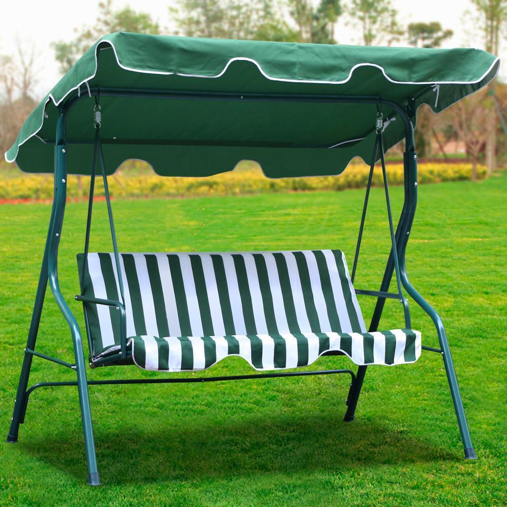 3 person outdoor patio garden swing cushioned canopy waterproof cover green us ebay. Black Bedroom Furniture Sets. Home Design Ideas