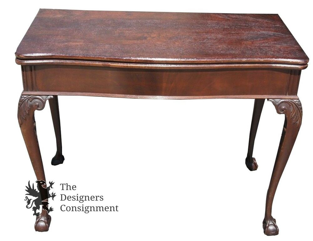 mid century carved mahogany expandable sofa dining card table chippendale style ebay. Black Bedroom Furniture Sets. Home Design Ideas