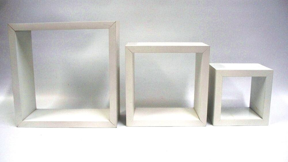 wall wood shadow box shelf set of 3 tiered square white ebay. Black Bedroom Furniture Sets. Home Design Ideas