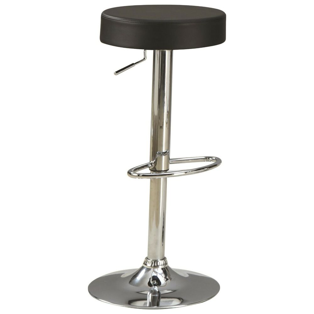 Black and chrome adjustable height bar stool by coaster