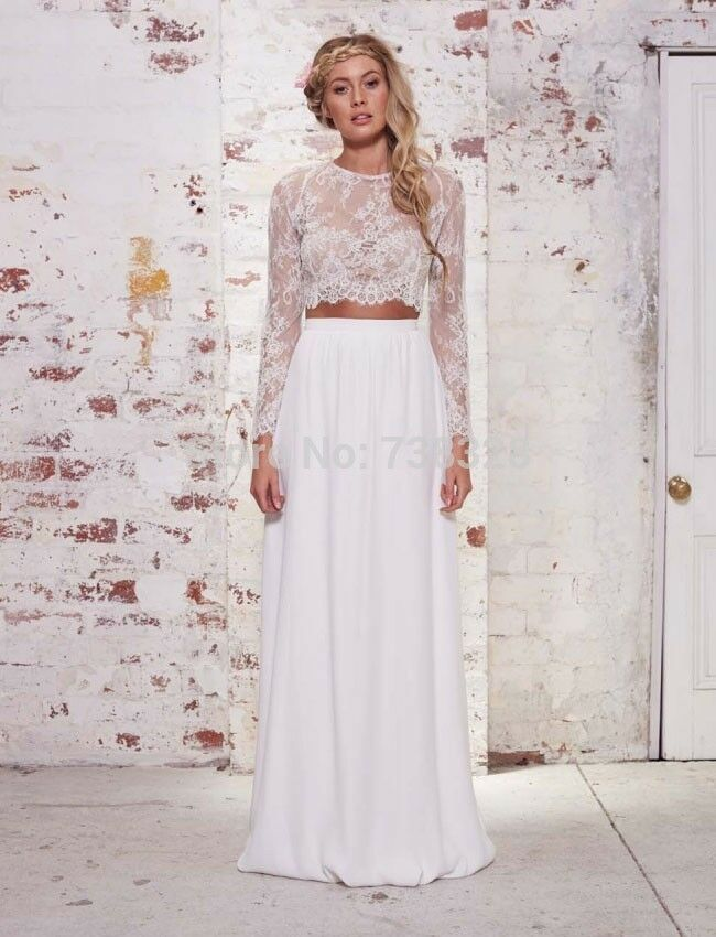 Two Pieces Beach Wedding Dresses Sheer Sexy Lace Bodice Bridal Gowns