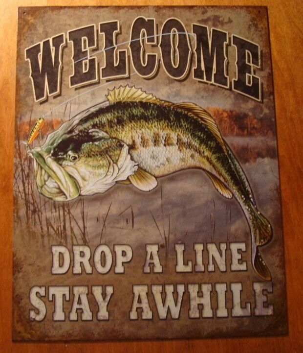 Large welcome drop a line bass fishing lodge fisherman for Classic house bass lines