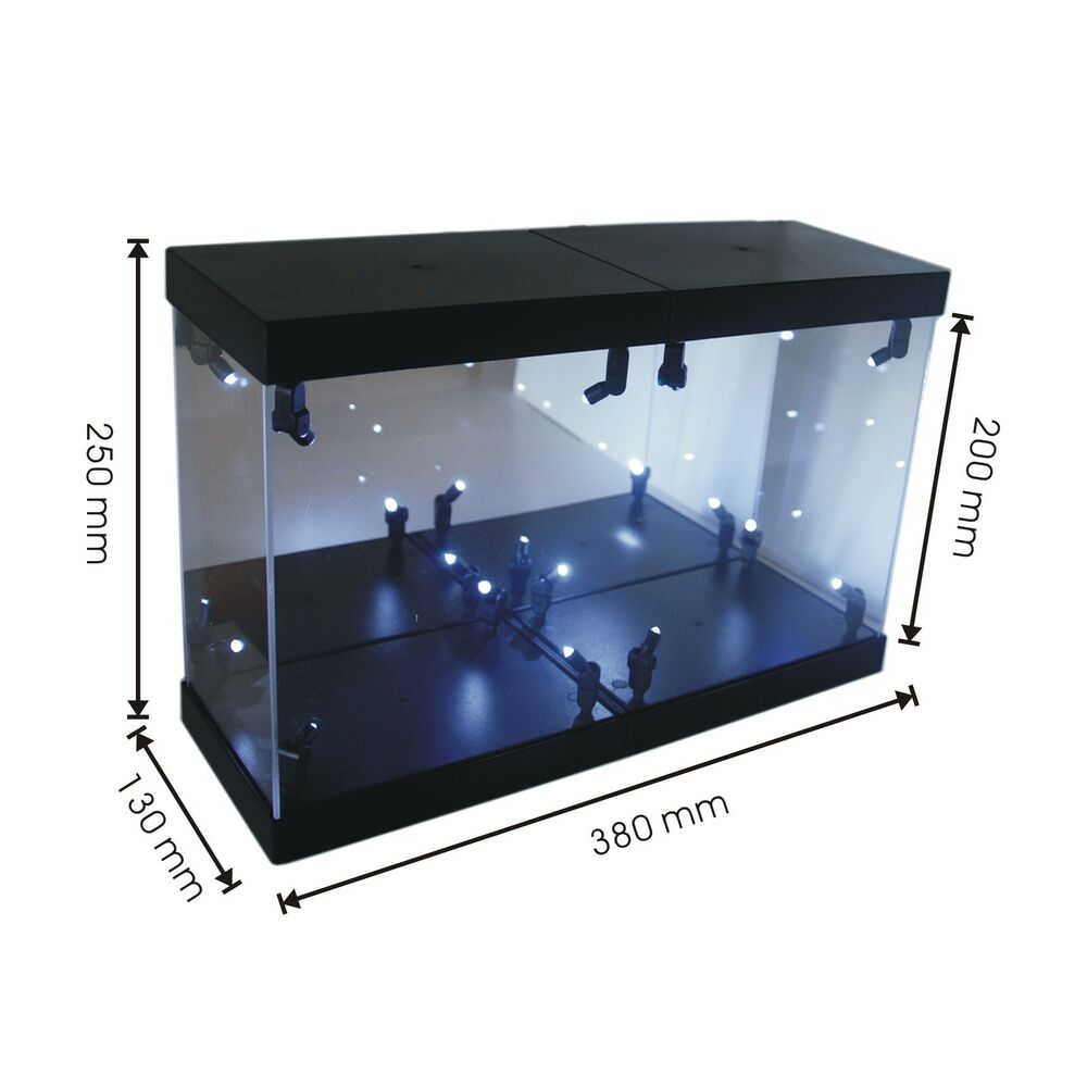 acrylic display case led light box for 6 15cm herocross batman robocop figure ebay. Black Bedroom Furniture Sets. Home Design Ideas