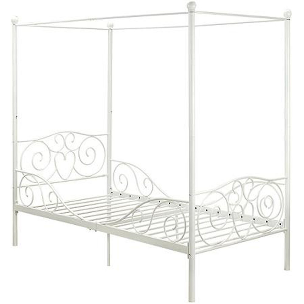 Princess bed frame twin canopy furniture white metal girls for Brass canopy bed frame