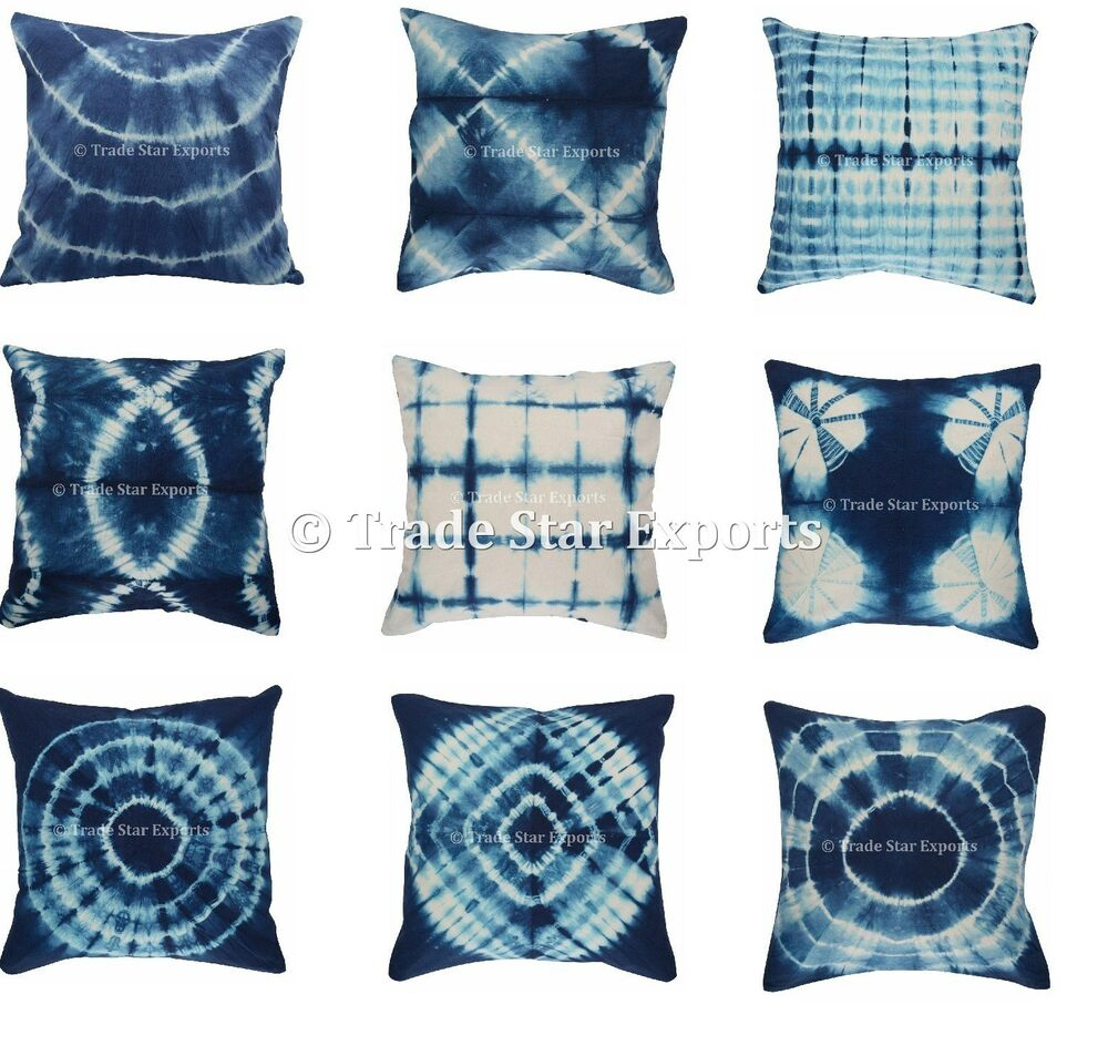 5 Pcs Indigo Tie Dye Cushion Covers Indian Shibori Pillow