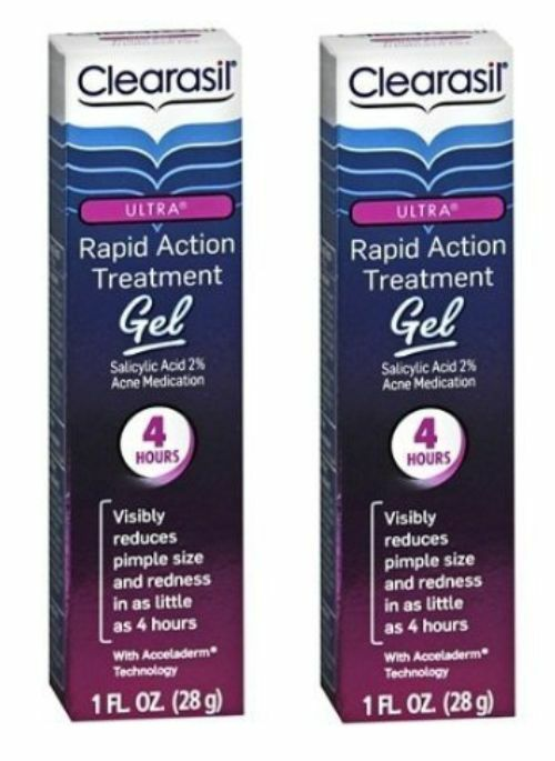Clearasil Ultra Rapid Action Treatment Gel 1 oz (Pack of 3) Control Corrective Sensitive Skin Cleansing Milk, 6.7 Ounce.