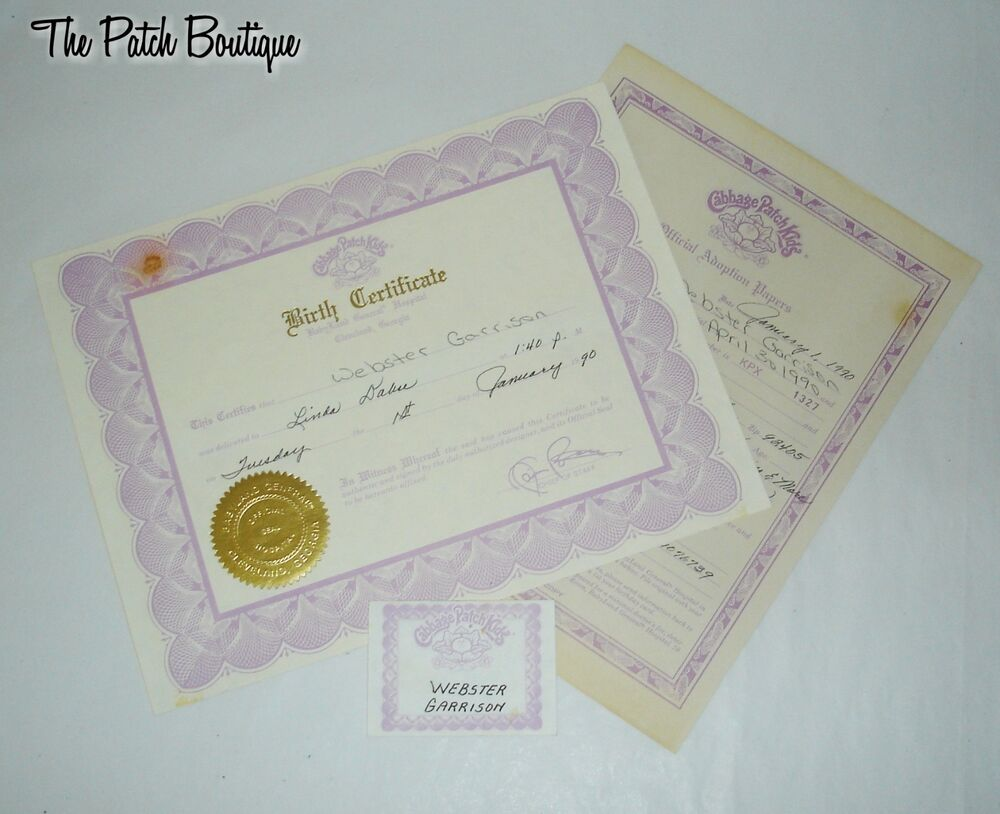 Cabbage patch kids opal soft sculpture doll birth certificate webster kpx 1327 ebay for Cabbage patch doll birth certificate