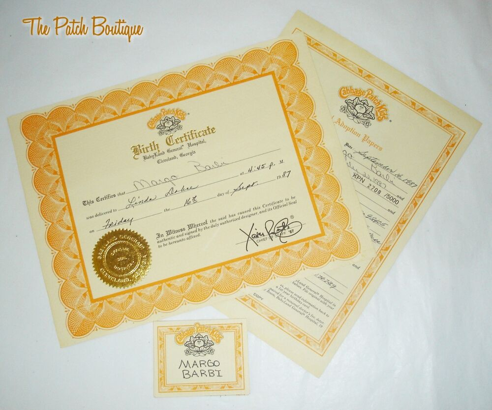 Cabbage patch kids soft sculpture topaz kpn doll birth certificate name tag ebay for Cabbage patch doll birth certificate