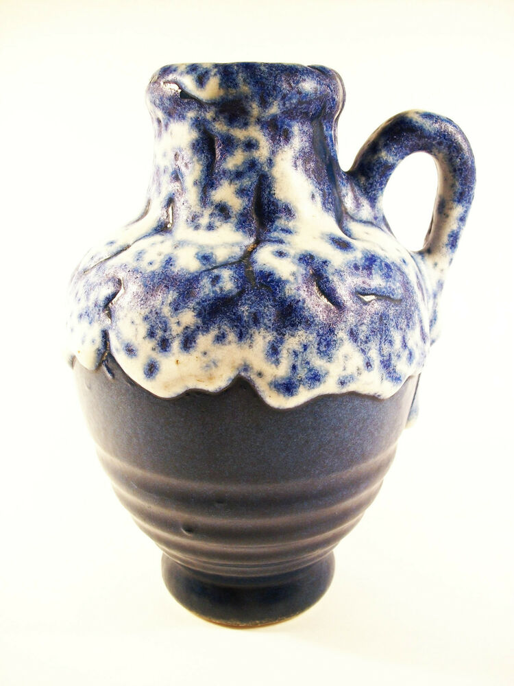 Mid Century Lava Glaze Ceramic Vase Jug West Germany