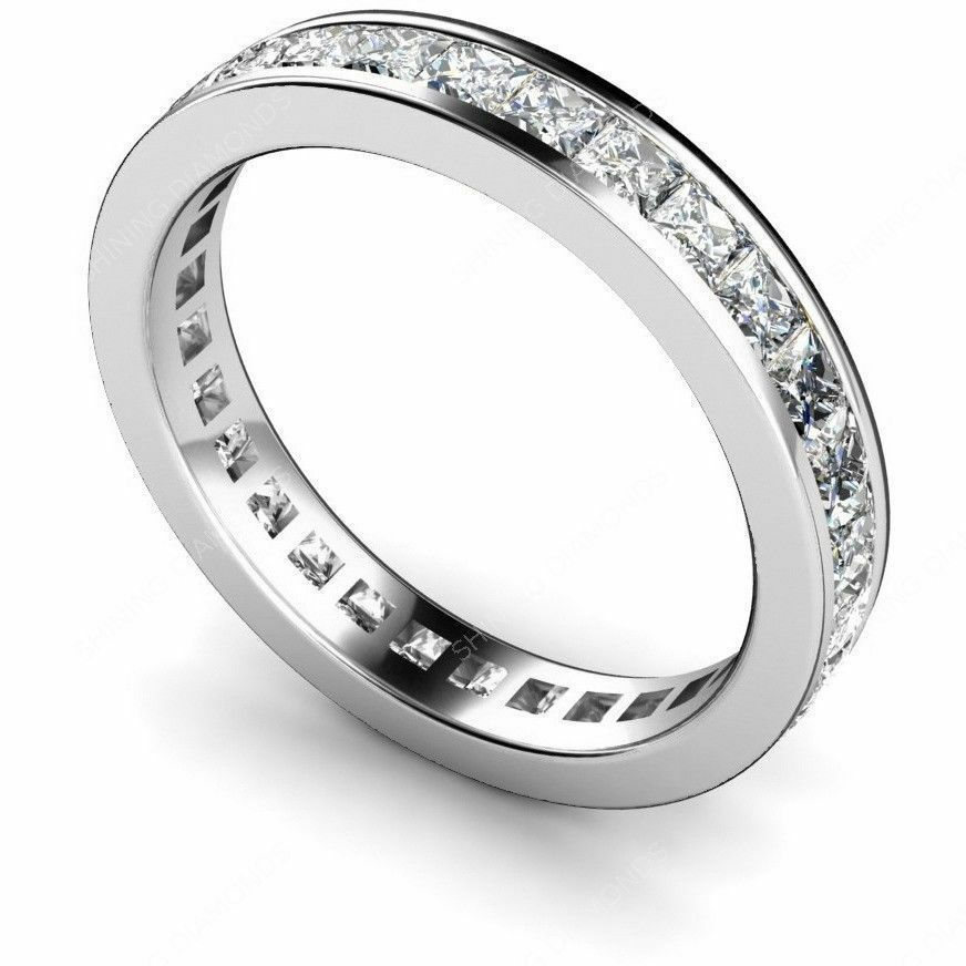 sterling silver princess diamond cut eternity wedding band thumb ring