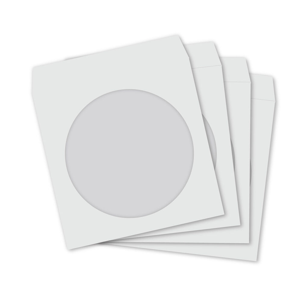 Mini cd dvd white paper sleeves with clear window and flap for 100 paper cd sleeves with window flap