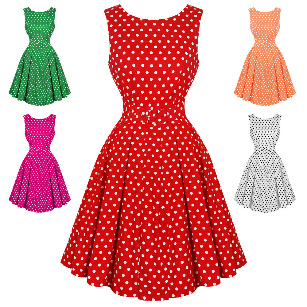 4a6d5219c Details about Dolly   Dotty Lola Polka Dot Retro Vintage 1950s Classic  Party Prom Swing Dress