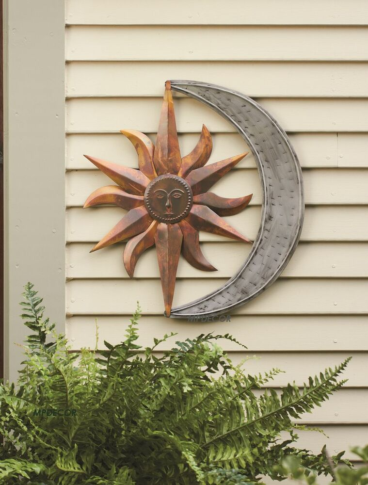 sun moon celestial wall art metal hanging decor outdoor indoor plaque 19 h ebay. Black Bedroom Furniture Sets. Home Design Ideas