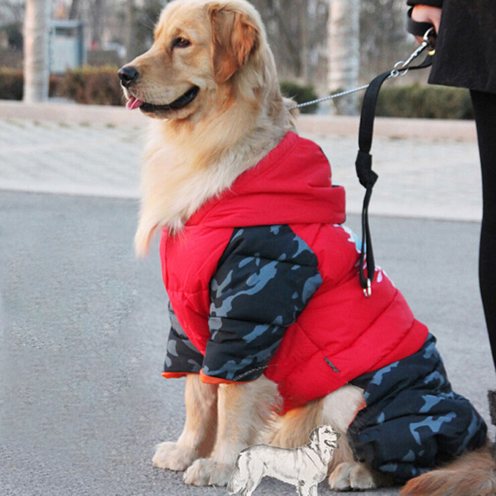 extra large dog jumpsuit clothes warm hoodie waterproof pet coat winter jacket ebay. Black Bedroom Furniture Sets. Home Design Ideas