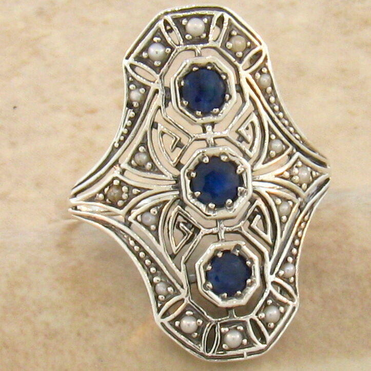 genuine sapphire 925 sterling vintage art deco style silver ring size 9 754 ebay. Black Bedroom Furniture Sets. Home Design Ideas
