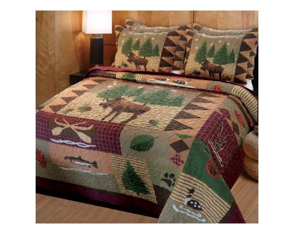 Queen Quilt Set Rustic Bedding Shams Cabin Full Size Lodge