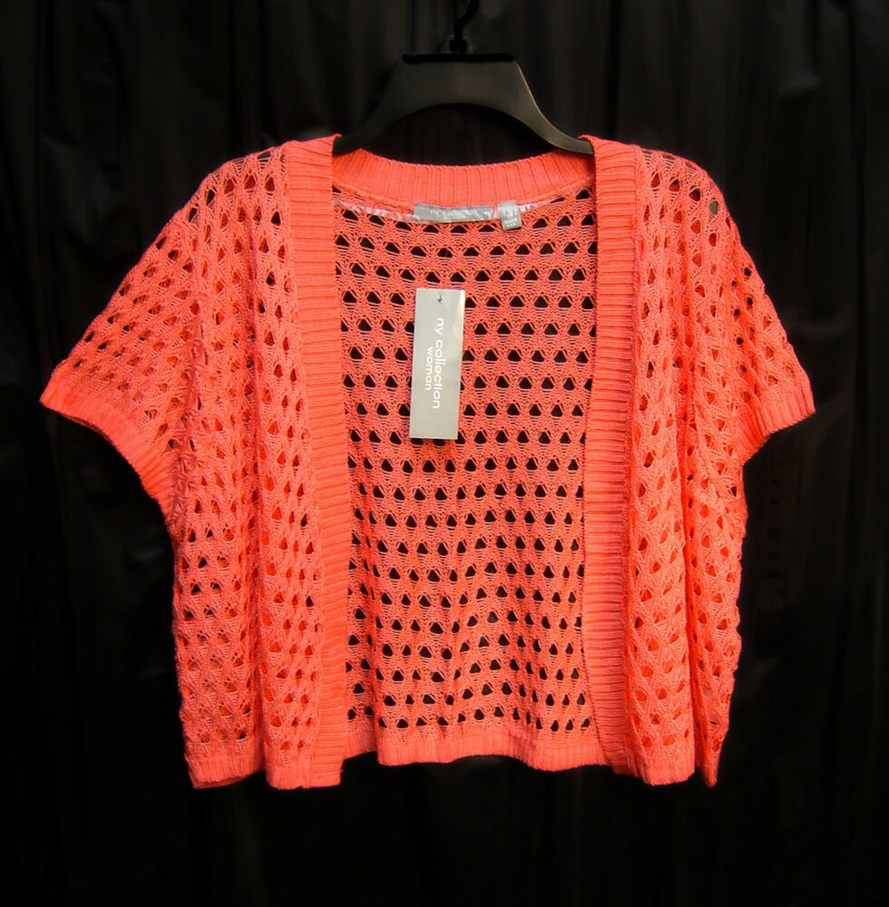 CORAL OPEN FRONT/WEAVE KNIT CROCHET CROP CARDIGAN JACKET SWEATER SHRUG TOP~1X...