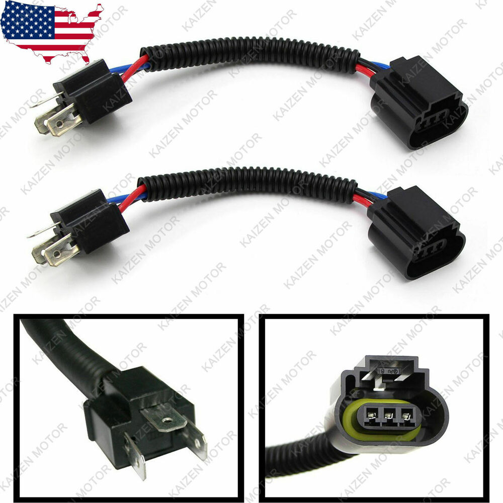 2x H4 9003 to H13 9008 Headlight Conversion Cable Wiring Harness Socket  Adapter | eBay
