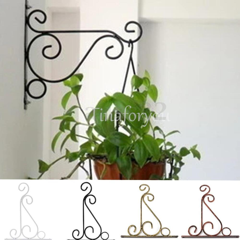 Iron Garden Wall Light Hanging Flower Plant Pot Bracket