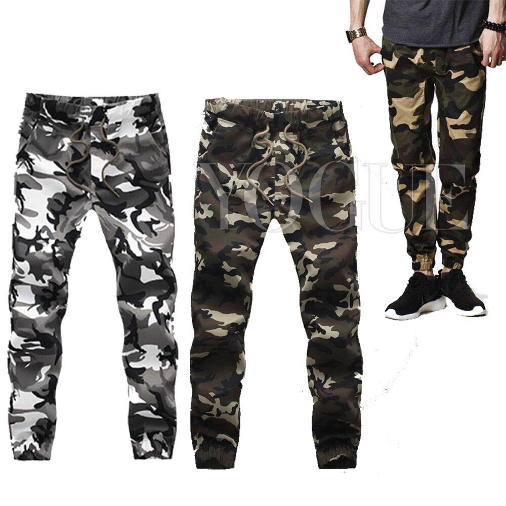 casual men 39 s camo joggers cargo camouflage army military. Black Bedroom Furniture Sets. Home Design Ideas