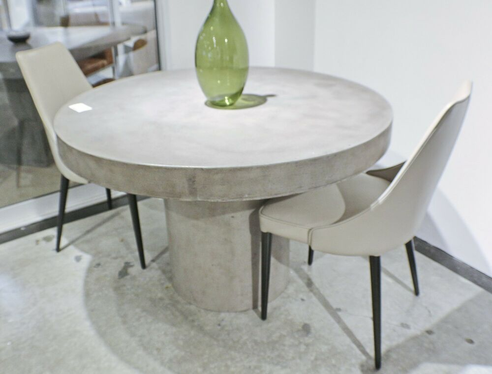 "60"" Round dining table solid concrete modern sealed indoor ..."
