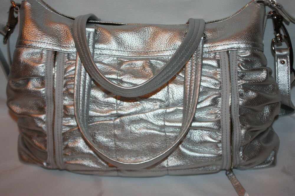 COLE HAAN BAILEY II East West Zippered Ruched Tote Bag Silver B33421  398 ac69a3dad9ea5