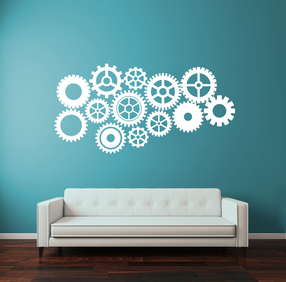 Wall Decal Vinyl Sticker Steampunk Gears And Cogs