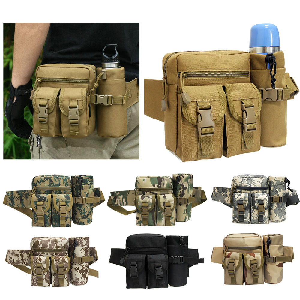 Holster Waist Bag Hiking Tactical Molle Water Bottle Pouch Bag LE