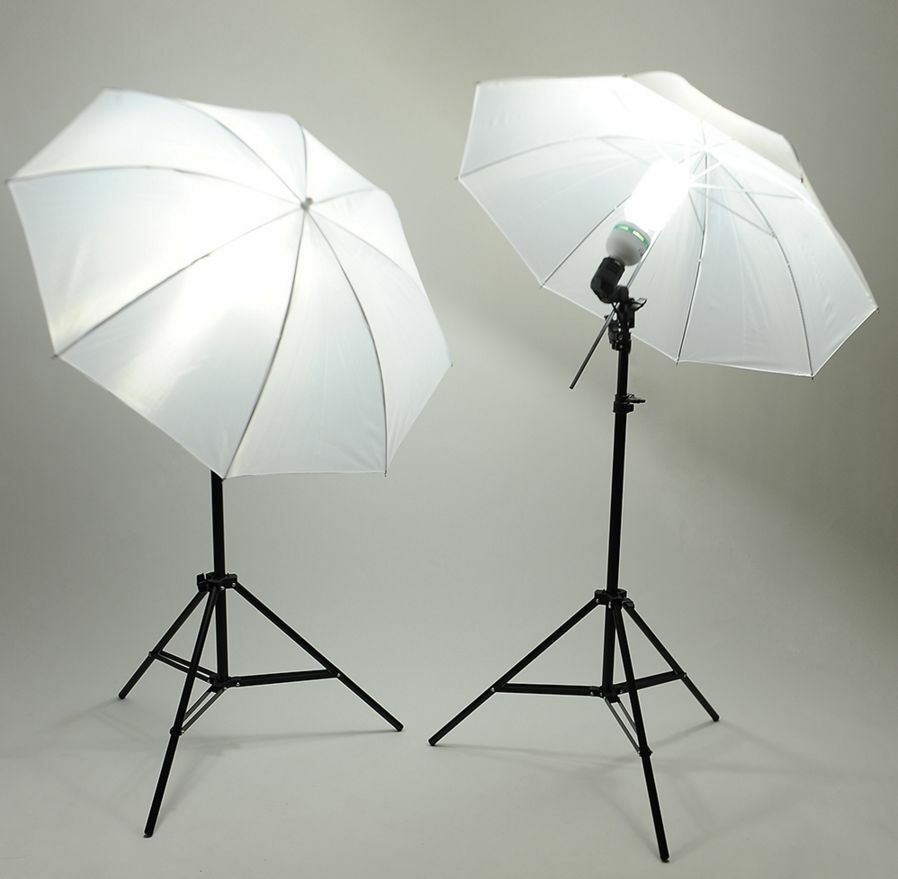 2x 45w led studioleuchte studioschirm set fotostudio lampe reflexschirm stativ ebay. Black Bedroom Furniture Sets. Home Design Ideas