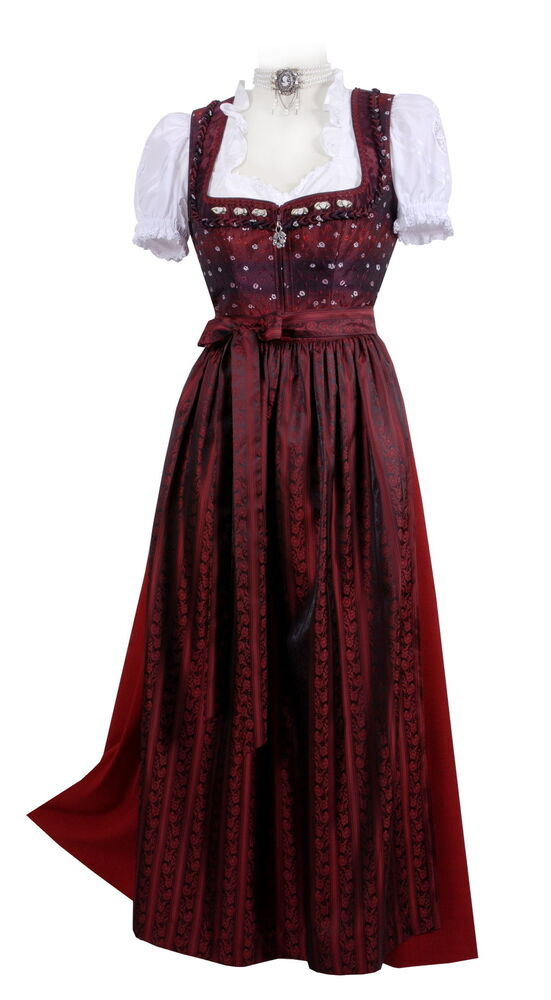 dirndl trachtenkleid damen lang festlich festtagsdirndl rot bordeauxe ebay. Black Bedroom Furniture Sets. Home Design Ideas