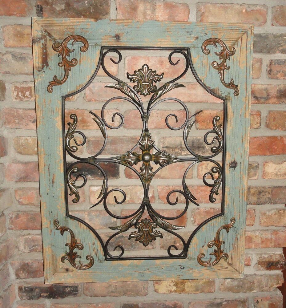 Home Decor Metal Wall Art ~ Rustic turquoise wood metal wall decor cottage chic