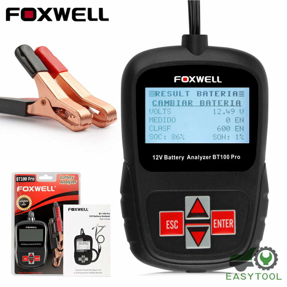 foxwell bt100 pro 12v auto battery tester flooded agm gel battery analyzer ebay. Black Bedroom Furniture Sets. Home Design Ideas