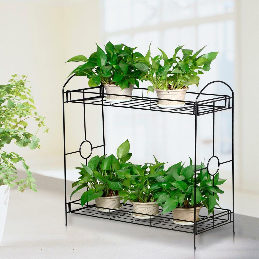 2 Tier Metal Shelves Indoor Plant Stand Display Flower