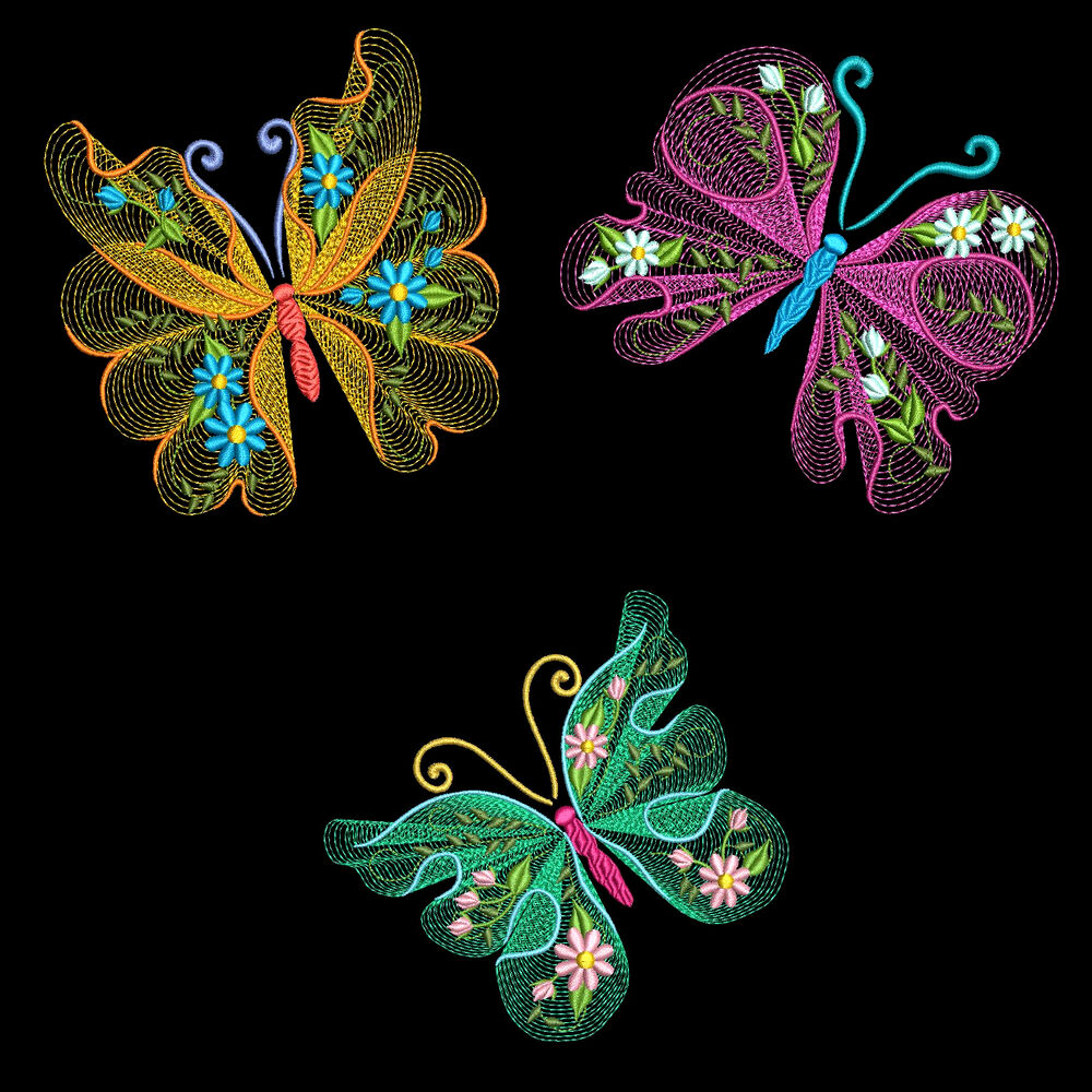Flutterby luv machine embroidery designs azeb ebay
