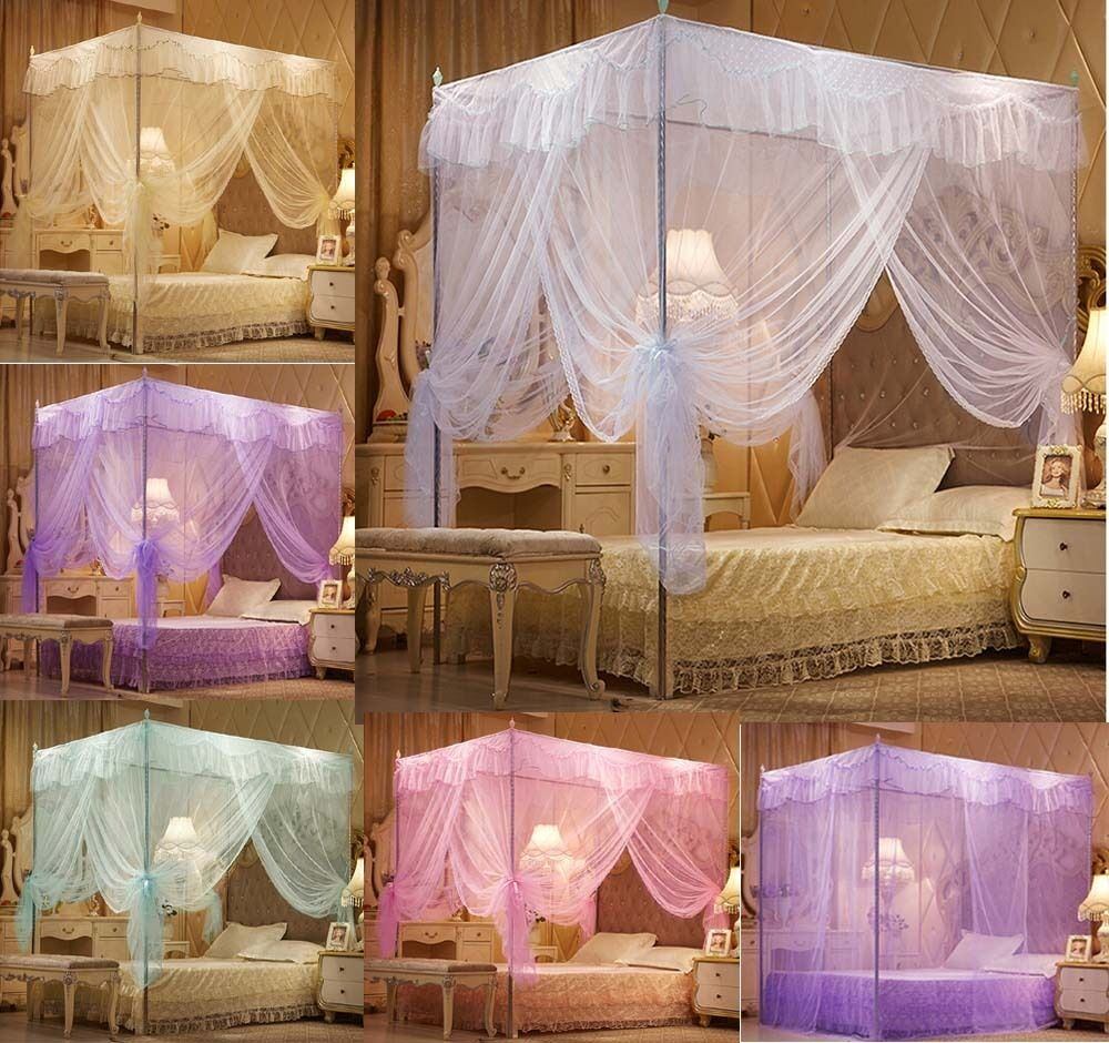 princess lace 4 corner post bed canopy mosquito nets queen king sizes netting ebay. Black Bedroom Furniture Sets. Home Design Ideas
