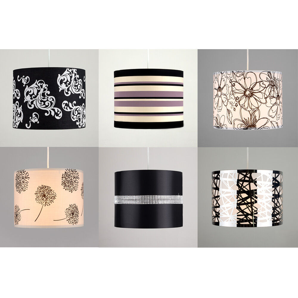 Ceiling Lamp Shade Materials: Fabric Diamante Floral Striped Ceiling Light Table Lamp