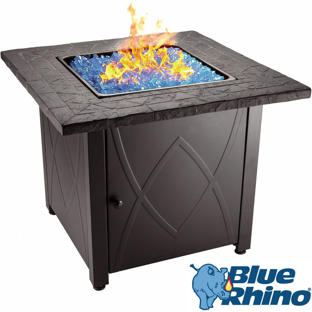 Blue Rhino Outdoor Propane Gas Fire Pit (Blue Fireglass ...