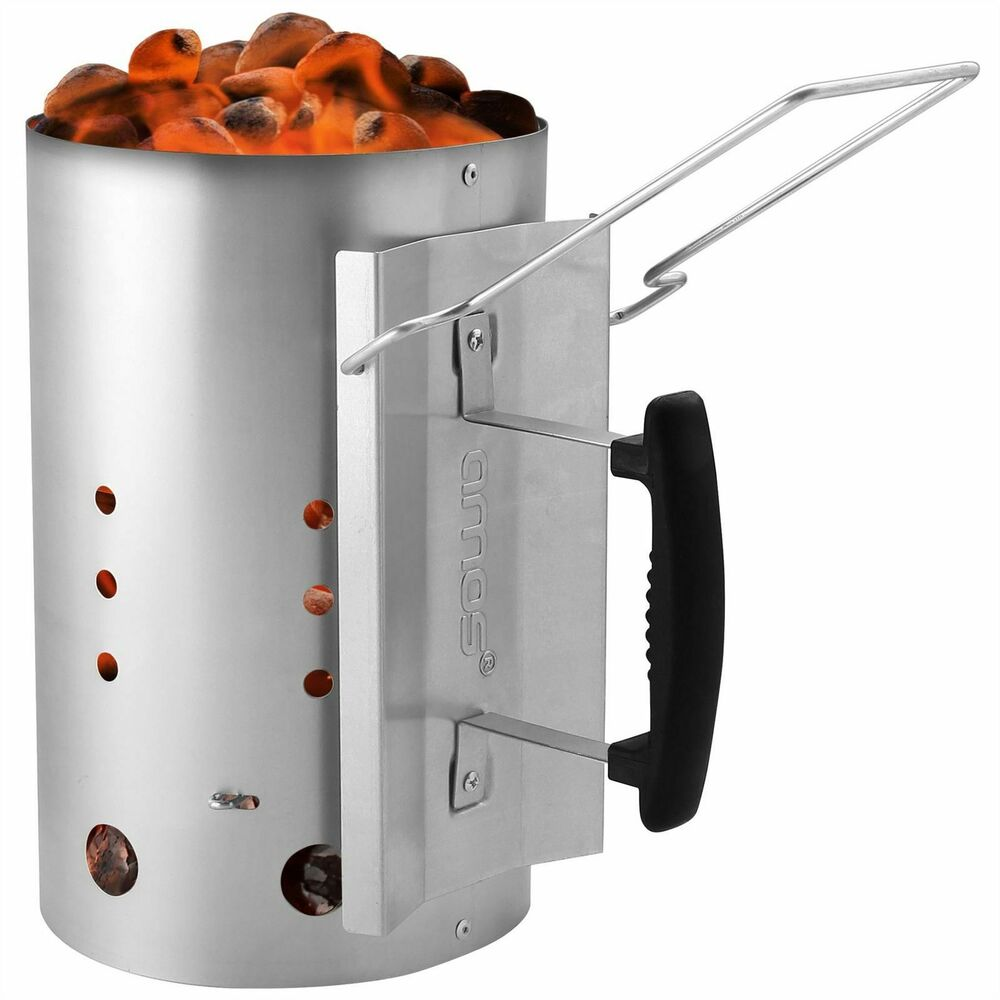 Amos Barbecue Bbq Chimney Starter Charcoal Grill Steel