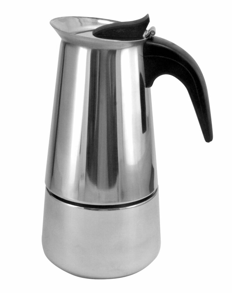 stainless steel stovetop 9 cup espresso coffee maker free shipping from ny ebay. Black Bedroom Furniture Sets. Home Design Ideas