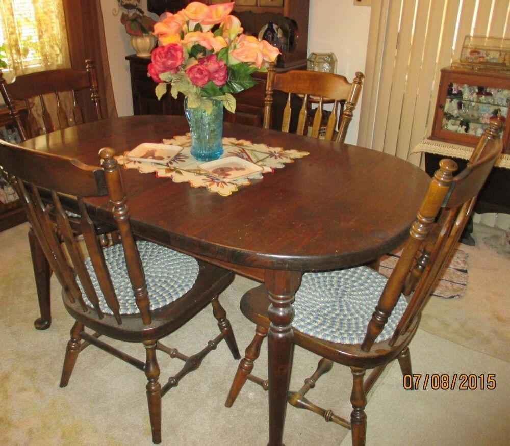 Ethan Allen Country Dark Pine Dining Table W 2 Extensions