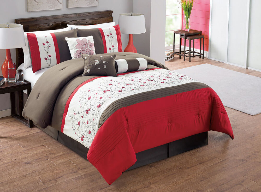 7 Piece Red/Chocolate/Ivory Embroidered Comforter Set