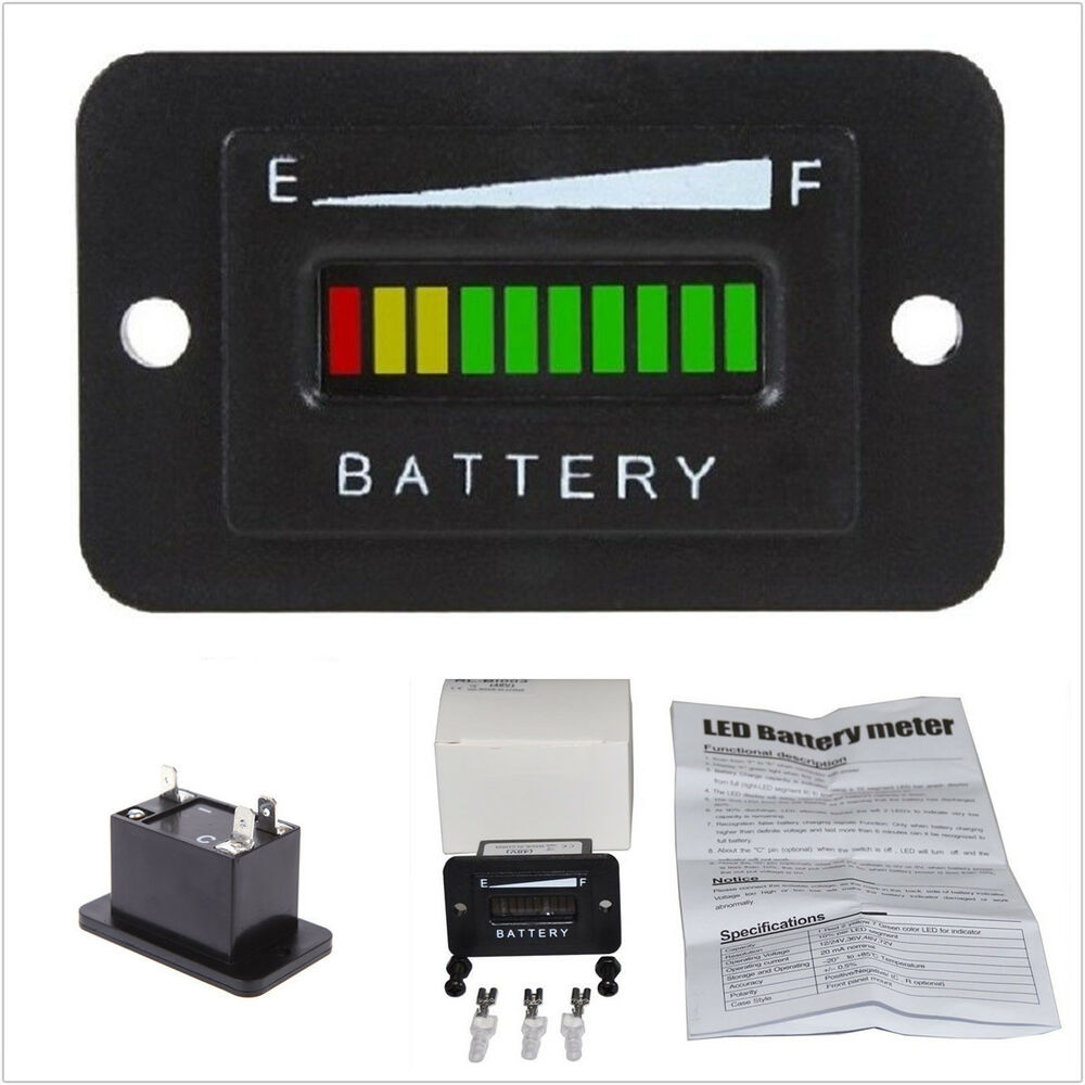 Rv Battery Voltage Gauge : V volt led battery indicator meter gauge for ezgo club