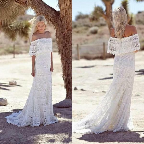 Summer Beach Wedding Dresses Sheath Bohemian Lace