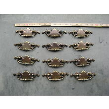 Vintage OLD ColoniaL CHIPPENDALE Drawer FURNITURE Pulls Set OF 12 BRASS 2.5