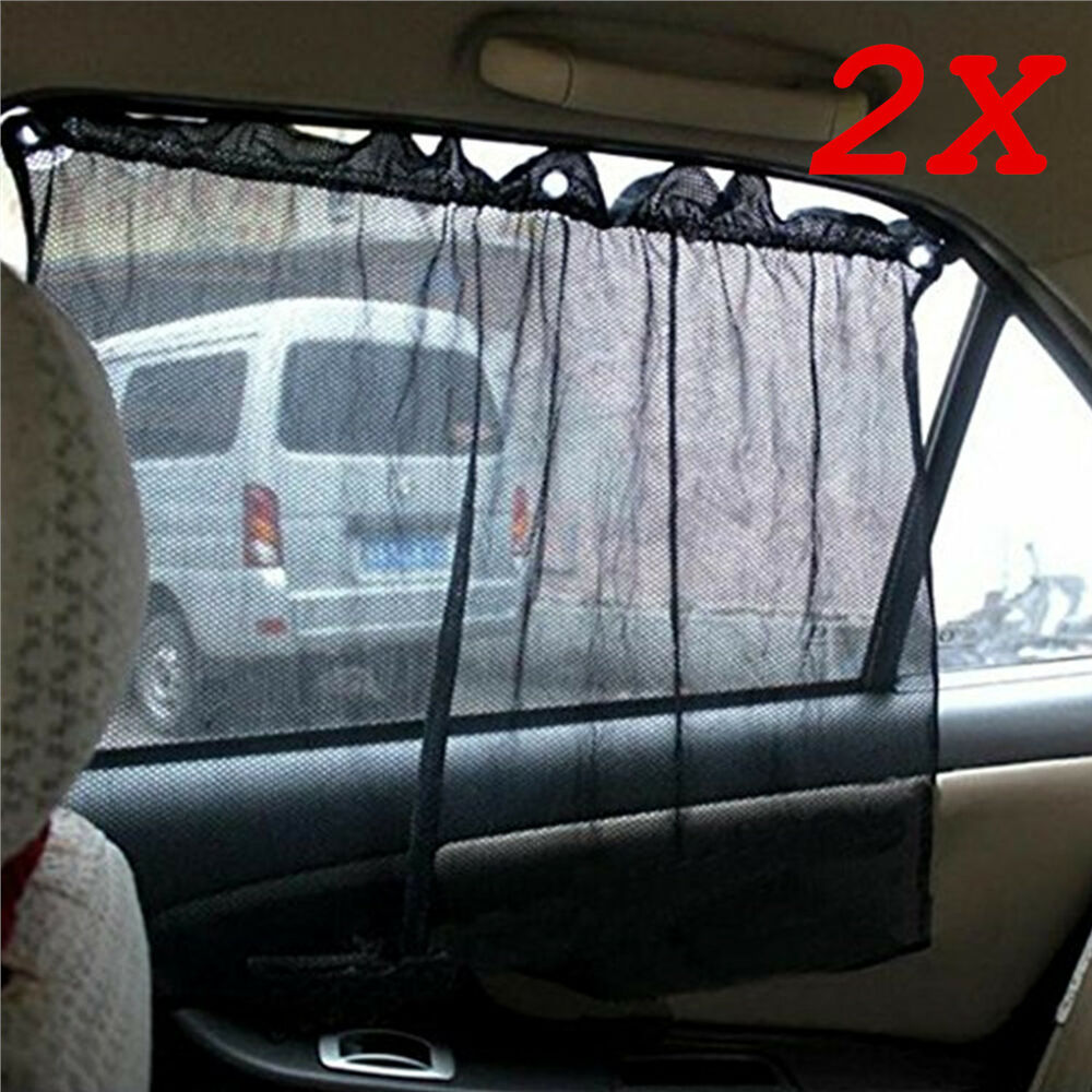 2x curtain side window car sun shade curtain windshield sunshade uv protection ebay. Black Bedroom Furniture Sets. Home Design Ideas