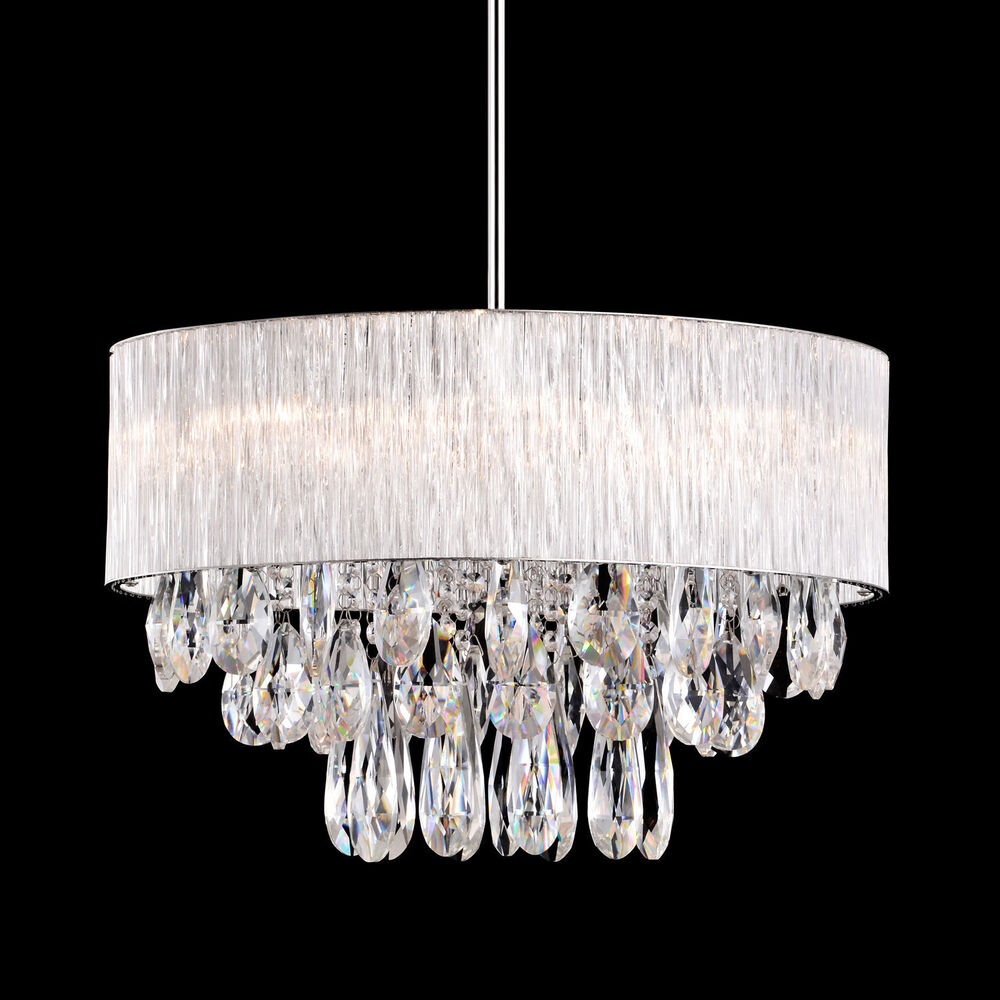 8 Lamp Round Drum Ribbed Shade Pendant Lighting Crystal