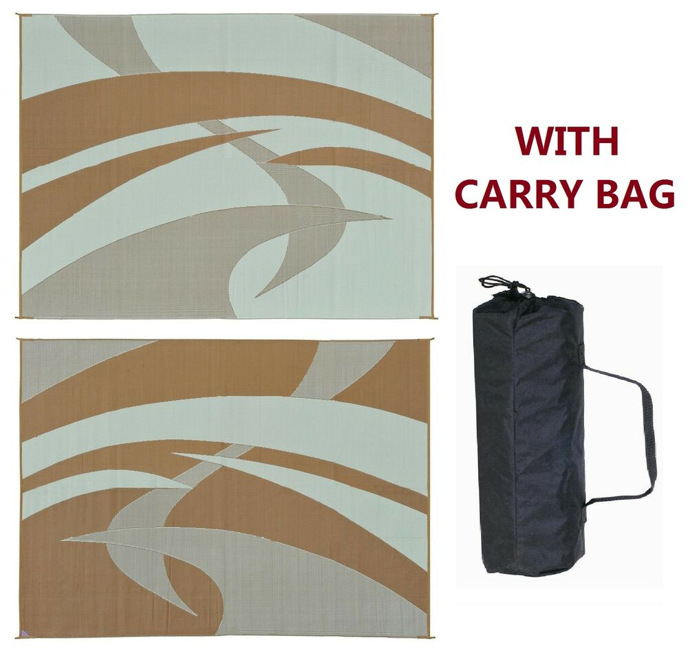 rv patio awning mat outdoor rug 9x12 brown beige 159127 ebay. Black Bedroom Furniture Sets. Home Design Ideas