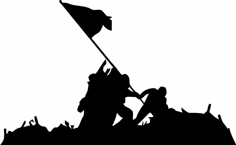 Military Flag Raising Iwo Jima Vinyl Decal Sticker Ebay