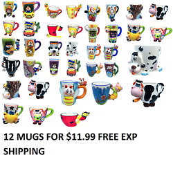 WHOLESALE LOT OF 12 ASSORTED COFFEE MUGS CUPS 3D NOVELTY CUTE GIFT FREE SHIPPING